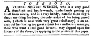 Nov 8 - South-Carolina Gazette and Country Journal Slavery 3