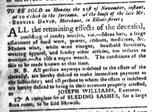 Nov 8 - South-Carolina Gazette and Country Journal Slavery 7