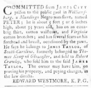 Oct 13 - Virginia Gazette Rind Slavery 11