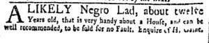 Oct 17 - New-York Gazette Weekly Mercury Slavery 3