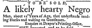Oct 27 - Massachusetts Gazette Draper Slavery 1