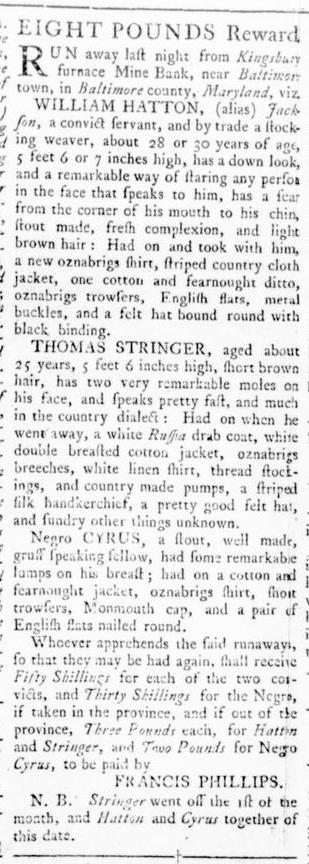 Oct 27 - Virginia Gazette Rind Supplement Slavery 1