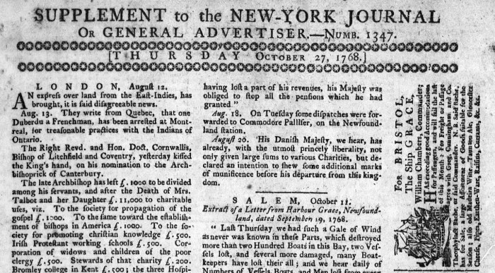 Oct 30 - 10:27:1768 New-York Journal