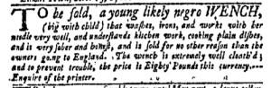 Oct 31 - New-York Gazette Weekly Mercury Slavery 1