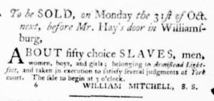 Oct 6 - Virginia Gazette Purdie and Dixon Slavery 7