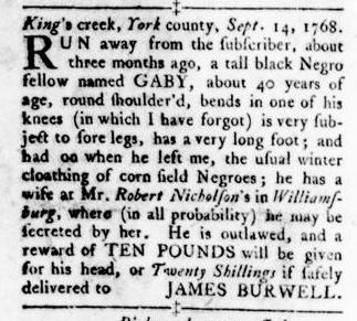 Oct 6 - Virginia Gazette Rind Slavery 11