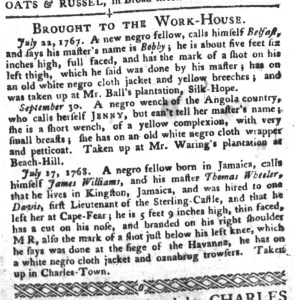 Nov 29 - South-Carolina Gazette and Country Journal Slavery 12
