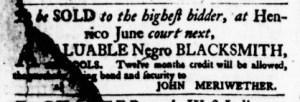 May 11 - Virginia Gazette Purdie and Dixon Slavery 1