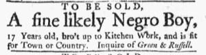 May 15 - Massachusetts Gazette Green and Russell Slavery 1