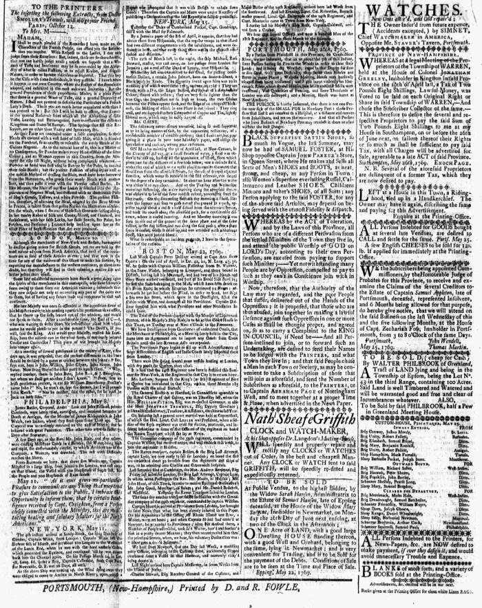 May 26 - 5:26:1769 New-Hampshire Gazette