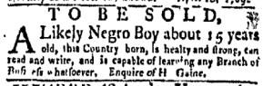 May 29 - New-York Gazette Weekly Mercury Slavery 5