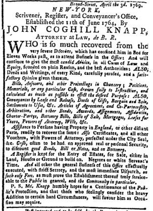May 8 - New-York Gazette Weekly Post-Boy Slavery 1