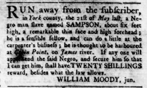 Jul 6 - Virginia Gazette Rind Slavery 2