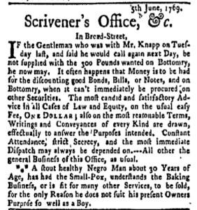 Jun 12 - New-York Gazette Weekly Mercury Slavery 2