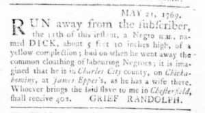 Jun 15 - Virginia Gazette Rind Slavery 5