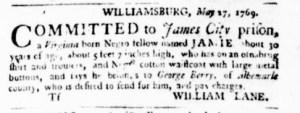 Jun 8 - Virginia Gazette Purdie and Dixon Slavery 5