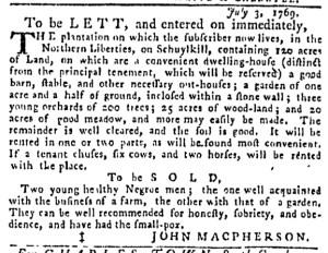 Jul 13 - Pennsylvania Gazette Slavery 2