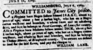 Jul 13 - Virginia Gazette Purdie and Dixon Slavery 2