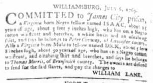 Jul 27 - Virginia Gazette Purdie and Dixon Slavery 8