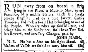 Jul 29 - Providence Gazette Slavery 1