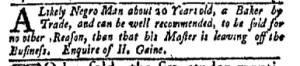 Jul 31 - New-York Gazette Weekly Mercury Slavery 5