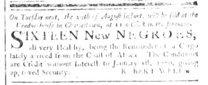 Aug 23 - South-Carolina and American General Gazette Slavery 1