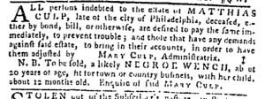 Aug 24 - Pennsylvania Gazette Slavery 1
