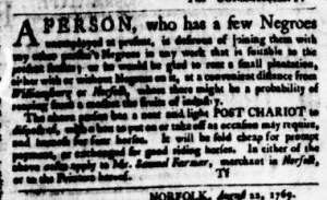 Aug 24 - Virginia Gazette Purdie and Dixon Slavery 1