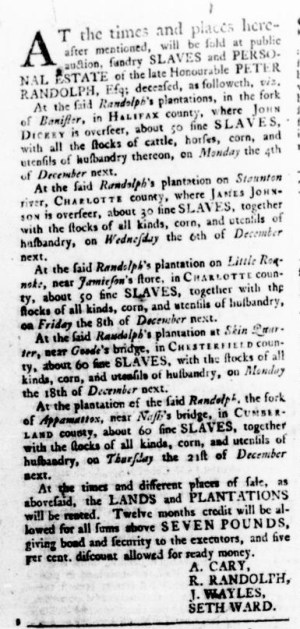 Sep 14 - Virginia Gazette Rind Slavery 3