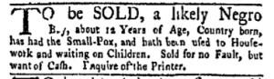 Sep 18 - New-York Gazette and Weekly Mercury Slavery 2