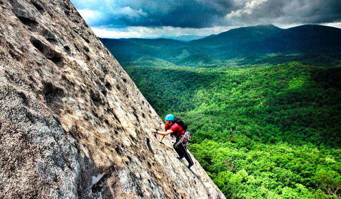 Climbing At Looking Glass Rock