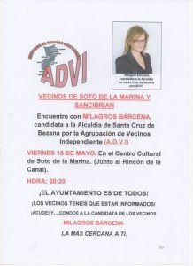 La candidata de la ADVI, Milagros Bárcena estará el próximo en Soto de la Marina