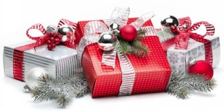 cheerful red and silver holiday gift boxes