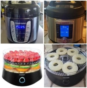 2 pressure cookers and a food dehydrator instant pot chefman
