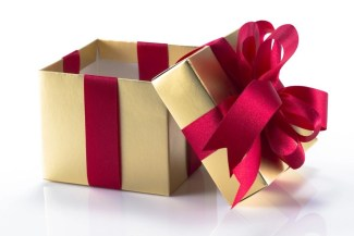 gold box red ribbon