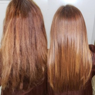 selfie before and after keratin complex treatment 2020