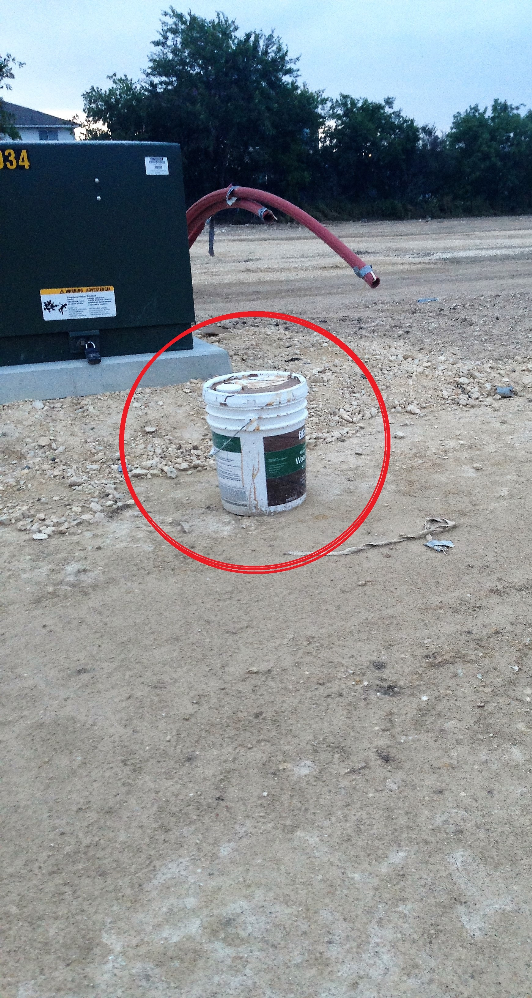 Bucket left behind at construction sites.