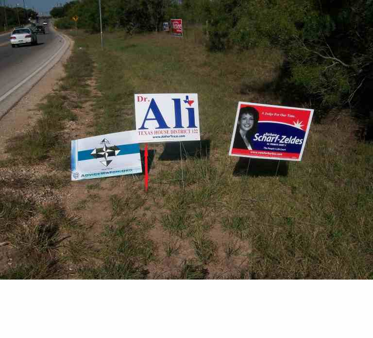 Sign height placement of political signs.