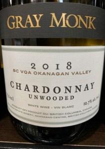 2018 Gray Monk chardonnay