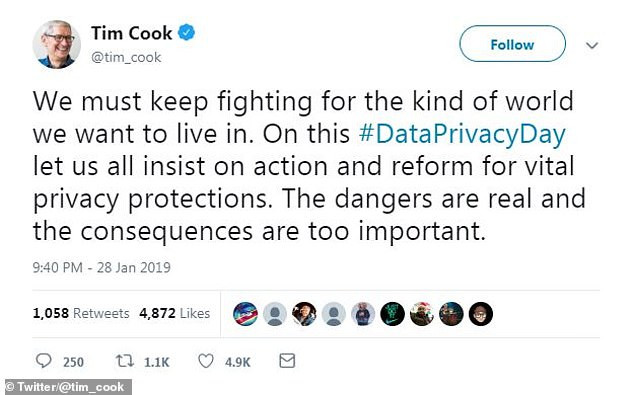The incident is embarrassing for the technology giant as it was discovered on Data Privacy Day in the United States, which Apple chief executive Tim Cook had tweeted about, calling for 'vital privacy protections' (pictured)