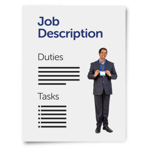 picture of a man standing next to words duties and tasks