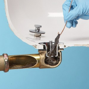 Bathroom drain cleaning