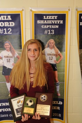 Lizzy Shaievitz received the Most Valuable Player Award,the CAL 2017 First Team All Start Soccer,and CAL 2017 Player of the Year Award Kinney Division Soccer