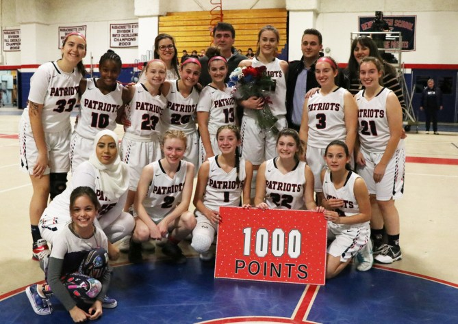 The Lady Patriots joined Valentina and her family on the court after she scored her 1,000th point as an RHS Patriot.