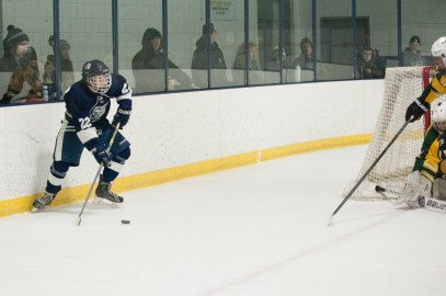Pioneers forward Chris Flannery sets up for the only goal scored in the game by Will Garofoli in the first Period.