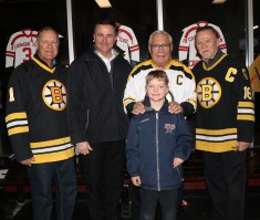 Special guests at Veterans Memorial Rink last Monday evening for EHS Senior Night: Boston Bruin legends Reggie Lemelin, Johnny Bucyk and Rick Middleton with EHS Administrator Christopher Barrett and Michael Barrett.