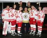 Former Boston Bruins Rick Middleton, John Buyck and Reggie Lemelin with the EHS Seniors, Capt. Brendan Calderon, Asst. Captain Kevin O'Brien, Asst. Capt. Nathan Johnson, Asst. Captain Ryan Coleman and Captain Jason Cardinale