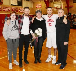 #23 Vincent Cirame with his mom, Dineen and the rest of his family.