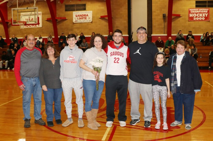 #22 Captain Michael Mabee with his parents, John and Michele and his brother, Ryan, sister, Alley and proud grandparents.