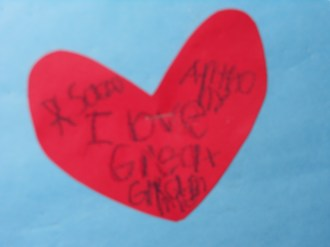 """REMEMBERING """"GREAT-GRAMMIE"""": A close-up of the special Valentine's Day heart with the message Anthony Sazo, 6, wrote for his great-grandmother, the late Rose DiMinico."""